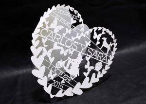 Díptico corazón invitación láser